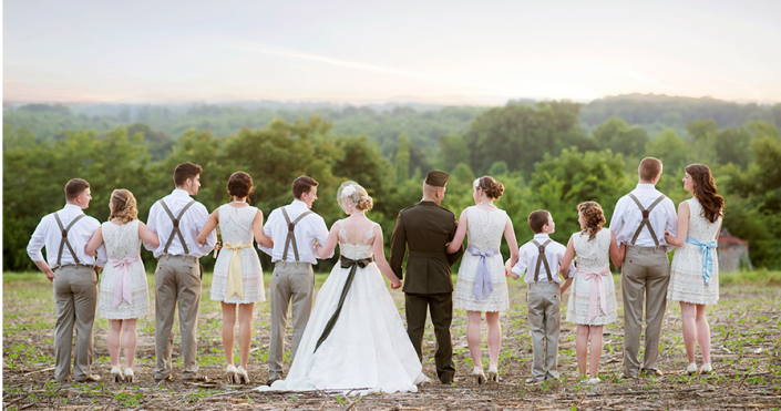 Bridal Party Locked Arm and Arm