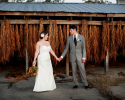 Bride and Groom in Front of Drying Rack