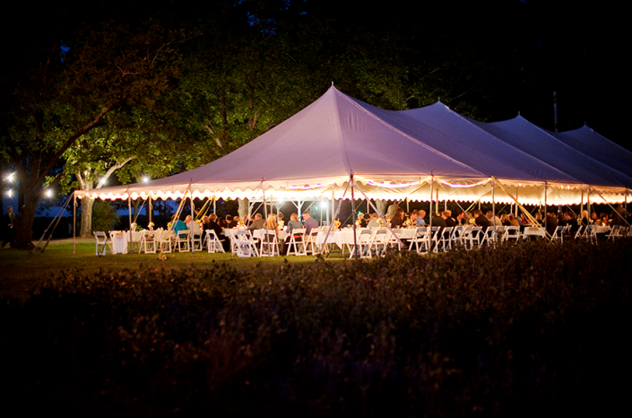 Lit Event Tent at Harvest House]